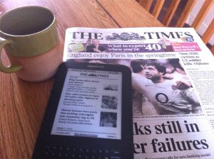 Screen or page with your coffee?